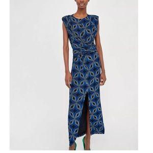 Zara Long Dress Shimmery Diamond Print Size S